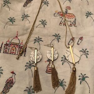 Gold Marble Tassel necklace and matching earrings